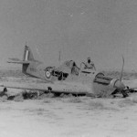 Afrika Korps soldiers with shot down Hurricane
