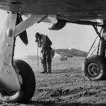 British Pilot Framed in Undercarriage of Hurricane Fighter 1940