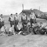 Czechoslovak pilots of No 310 Czechoslovak Squadron RAF Hurricane Mk I P3143, code NN-D Duxford