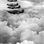 Formation of RAF Hurricane fighters on patrol on the Western Front 1940