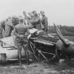 German soldiers examining Hurricane