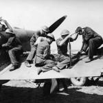 Ground staff re arm a Hurricane Mk I of No 32 Squadron at Biggin Hill August 1940