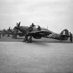 Hurricane Mk IIB night fighters Z3971 code SW-S Samasthans II of No 253 Squadron RAF lined up at Hibaldstow