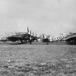 Hurricane Mk IIB of No 174 Squadron RAF lined up at Manston Kent