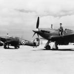 Hurricane Mk II of No 185 Squadron RAF lined up at readiness at Hal Far Malta – Mk IIB Z5265 T