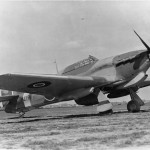 Hurricane Mk IVD KZ193 fitted with two 40mm Vickers Type S guns and a Vokes tropical filter on the ground