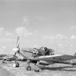 Hurricane Mk IV KX413 code FJ-H of No 164 Squadron RAF undergoing servicing at Middle Wallop