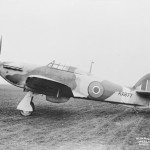 Hurricane Mk IV fighter bomber KX877 parked on an airfield April 1943