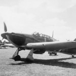 Hurricane Mk I P3522 of No 32 Squadron flown by PO Rupert Smythe taxying at Hawkinge 29 July 1940