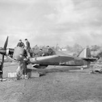 Hurricane Mk I P3886 UF-K of No 601 Squadron RAF being serviced in a dispersal at Exeter November 1940