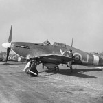 Hurricane Mk I V7608 XR-J of No 71 Eagle Squadron RAF at Kirton in Lindsey