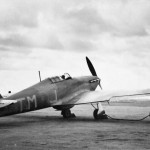 Hurricane code TM-J No 504 Squadron RAF connected to the battery-cart