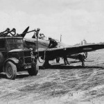 Hurricane of No 229 Squadron being re fuelled and re-armed August 1940