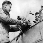Hurricane of No 249 Squadron RAF pilots with mascot duck Wilfred 1941