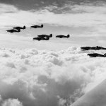 Hurricanes Mk I of No 85 Squadron RAF on patrol during the Battle of Britain