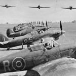 Hurricanes fly over the Hurricane Mk IIB and IIC of No 67 Squadron RAFat Chittagong India