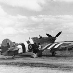 Mail being loaded into a Hurricane Mk IIC of No 1697 Air Despatch Letter Service Flight at B2 Bazenville Normandy