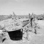 No. 42 Squadron RAF camouflaging their Hurricane Mk IV in dispersal points at Onbauk Burma KX802 AW-B and LF477 AW-C