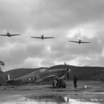 Hurricane Z3768 code FK-49 of No 81 Squadron RAF in a waterlogged dispersal at Vaenga