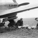 Hurricane being bombed-up 402 Sqn