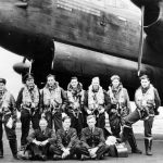 RAF Bomber Command aircrew with Lancaster