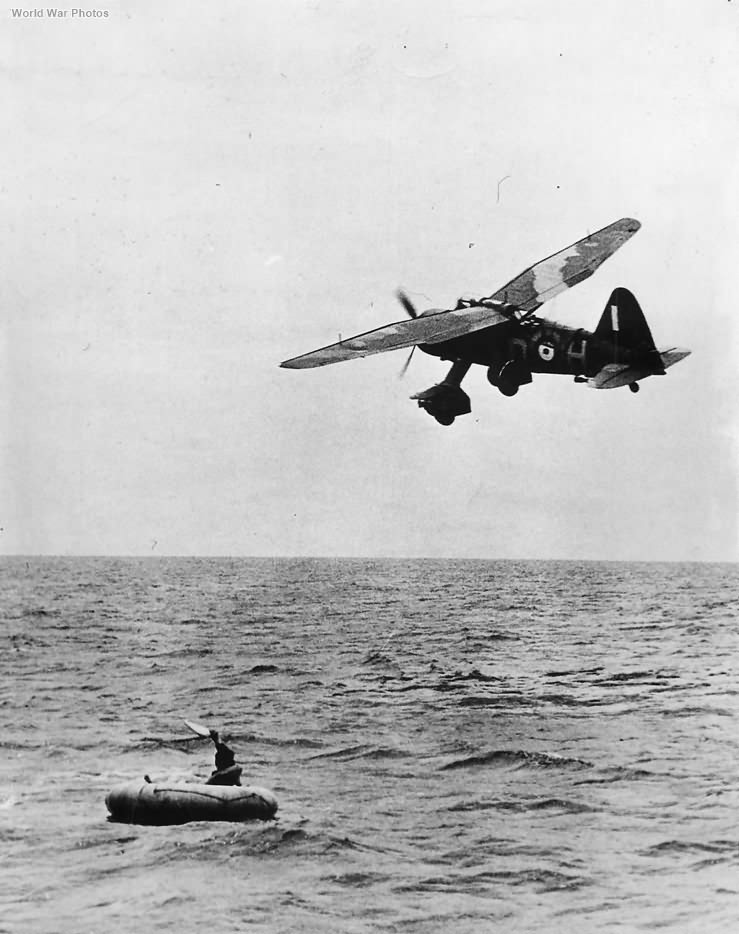Lysander files over pilot forced down in English Channel