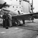 "Spitfire Mk Vb BL676 ""Bondowoso"" on the flight deck of the HMS Illustrious"