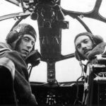 RAF pilots seated at controls of Stirling 1941