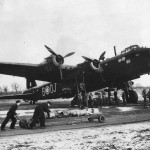Short Stirling W7455 code OJ-B of No.149 Squadron RAF Bomber Command at Mildenhall 1942