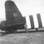 Short Stirling tail with D-Day stripes