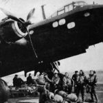 Short Stirling bomber with crew