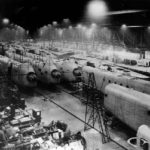 Stirling bombers on production line at factory in England 42