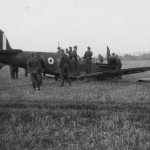 German soldiers and crashed Spitfire