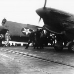 PO Jerry Smith RCAF Lands Spitfire Mk V trop On USS Wasp Off Of Malta