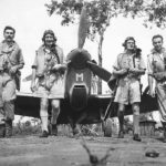 RAF No. 54 Squadron Leader E.M. Gibbs with pilots Cavanagh, Norwood and Thompson with Spitfire Mk Vc in Australia