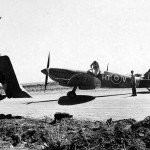 Spitfire Mk IX code HT-V of No. 154 Squadron at base in Corsica