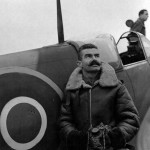 french pilot Capt. Raymond Boillot with his Spitfire