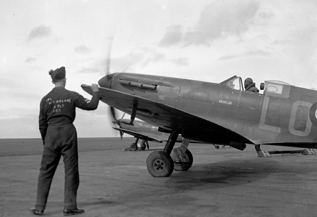 "Spitfire Mk I LO-X of No. 62 Squadron RAF named ""Bogus"""