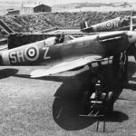 Spitfires Mk Vb of No 64 Squadron RAF in revetments at Hornchurch