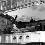 Spitfire on elevator of the carrier USS Wasp 1942