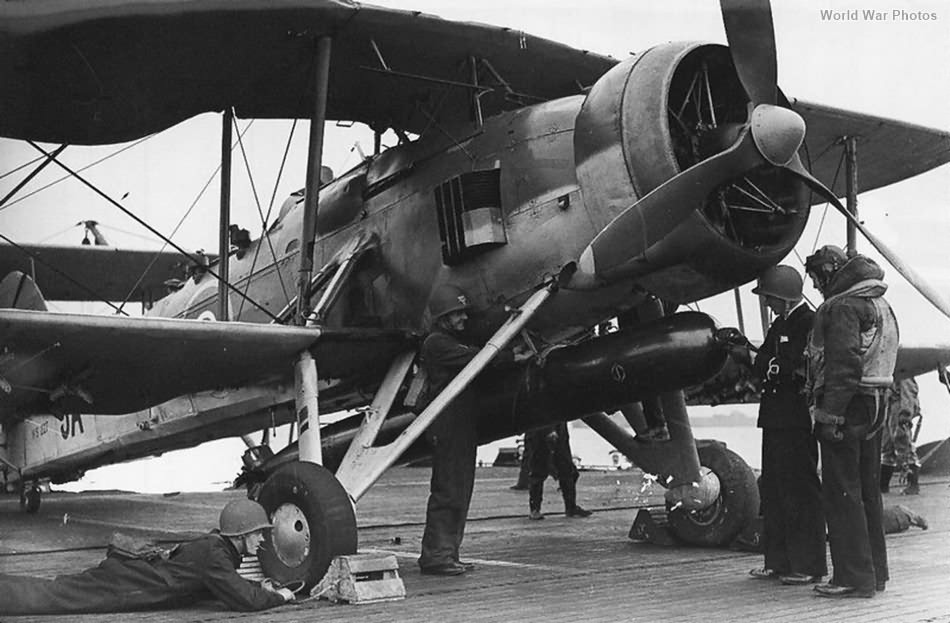 Swordfish with torpedo aboard carrier