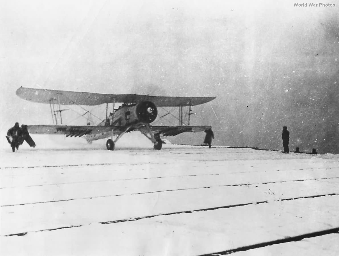 Fairey Swordfish of No. 842 Sqn takes off from snow-covered HMS Fencer 1945