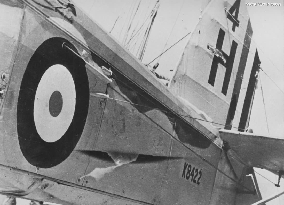 Damaged Fairey Swordfish K8422 of 820 Squadron FAA