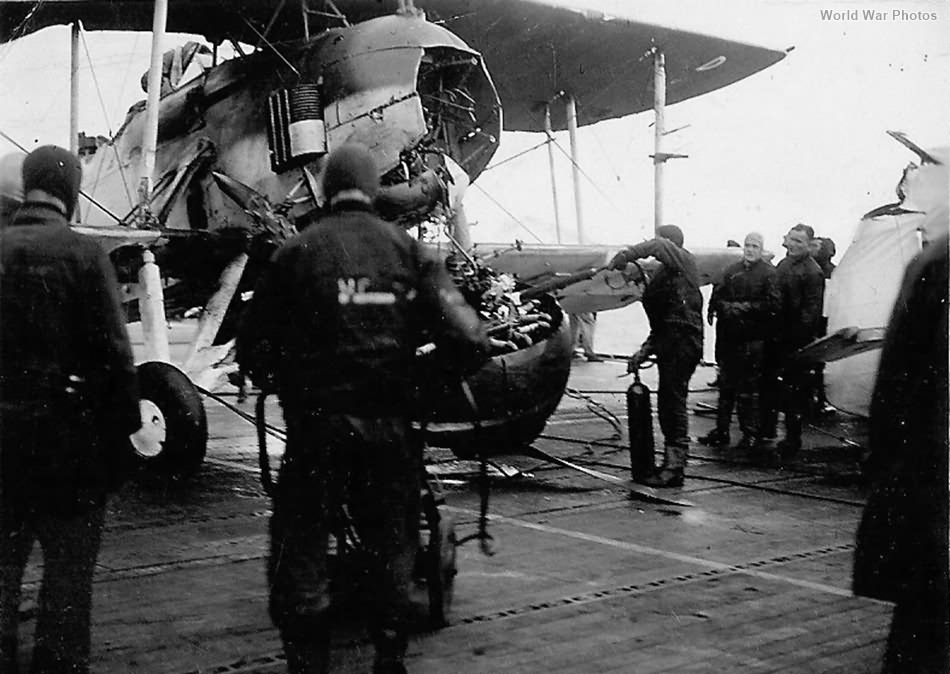 Engine separated from the Swordfish bomber