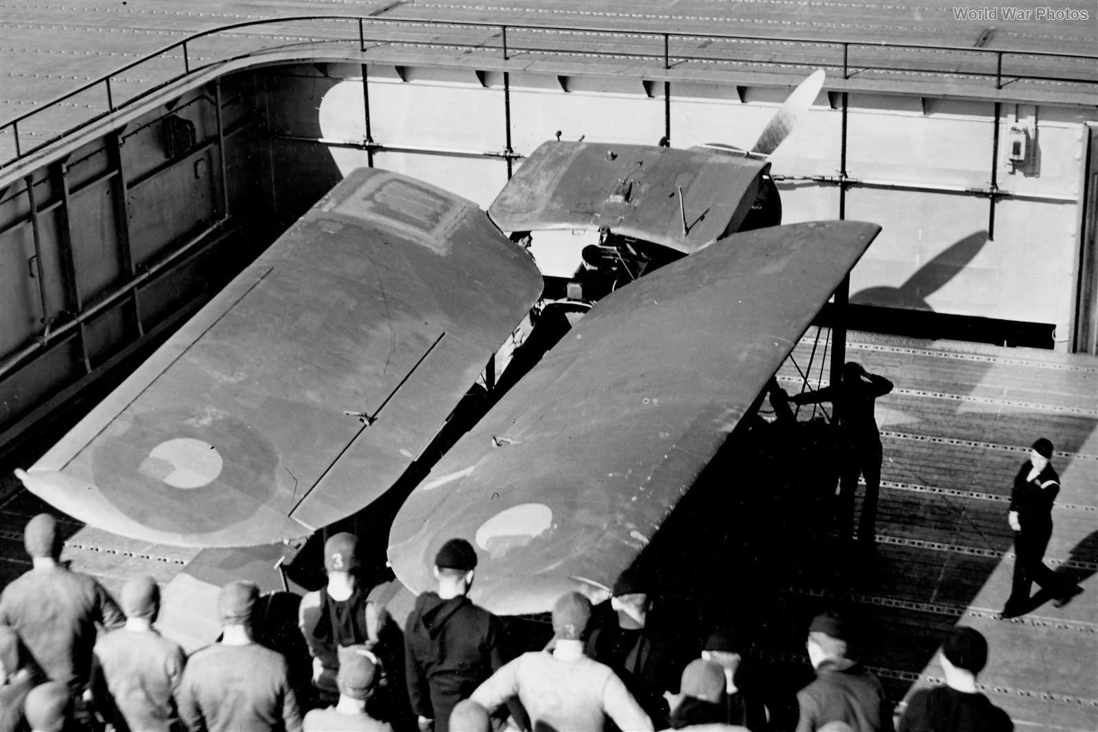 Fairey Swordfish on USS Wasp elevator April 1942