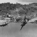 A-20G Havoc 43-9432 Bevo of the 387th BS hit by flak during an attack on Kokas New Guinea 22 July 1944