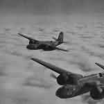 A-20's 58 and 5 of the 47th Bomb Group in flight during World War II