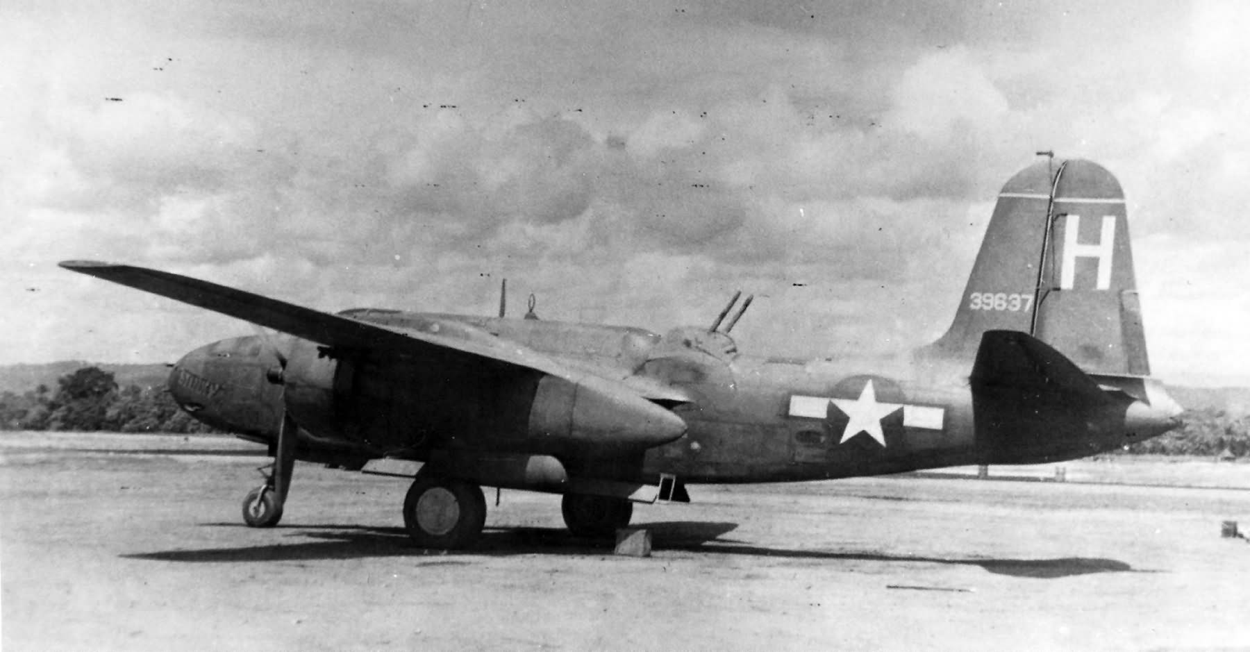 """A-20G """"Stinky"""" 43-9637 of the 13th BS, 3rd BG"""