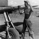 Cleaning a 0.50 Calibre M2 Browning Machine Gun On North American A-36 1943 Africa