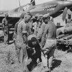 "Crew Loads 500lb Bomb on A-36 Apache named ""Robbie"" in North Africa July 1943"